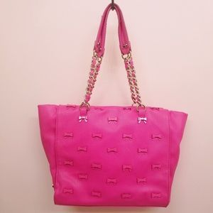 Betsey Johnson Little Bow Chic Tote Fuchsia Pink
